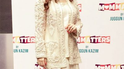 Juggun Kazim wearing Souchaj at her book launch