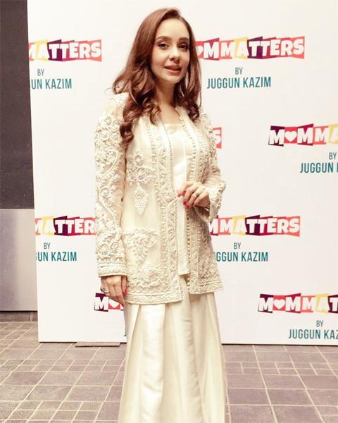 Juggun Kazim wearing Souchaj at her book launch