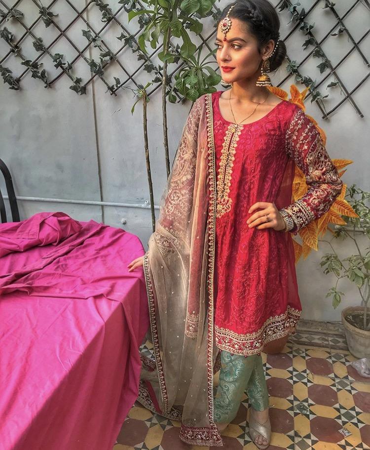 Minal Khan wearing Maria B