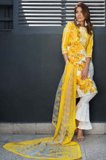 db9d769c3a Yellow is a summer essential color for our wardrobe! And we are in awe of  this design. Mughal inspired white paste lawn and front emerged with  heavily rose ...