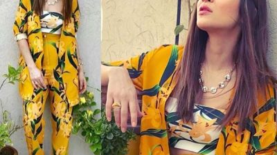 Ayesha Omar wearing yellow floral outfit by Farah Sanjana