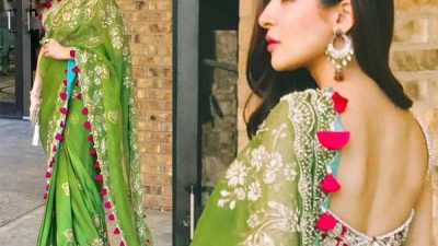 Ayesha Omar looks gorgeous wearing green Sari in USA