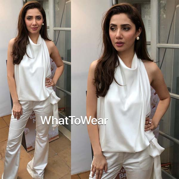 Mahira Khan wearing Sana Safinaz at Lux TVC launch