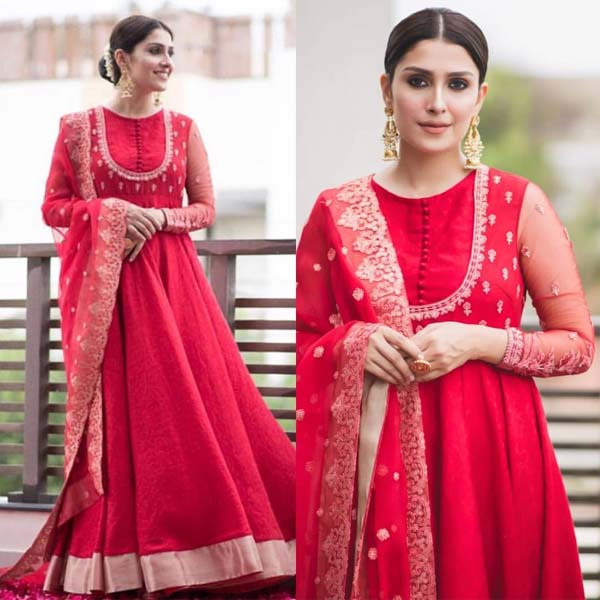 Ayeza Khan looks amazing in this red outfit by Faiza Saqlain