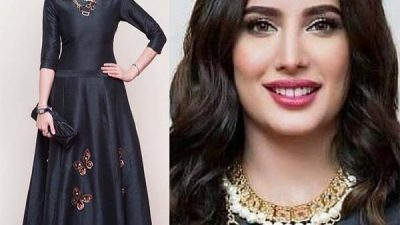 Mehwish Hayat wearing dress by Dubai based brand Love Kara
