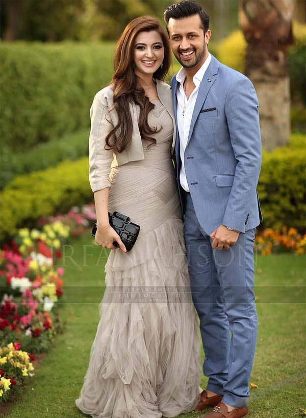 Atif Aslam & his wife Sara Bharwana looks perfect in formal