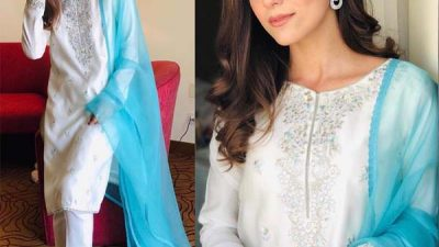 Maya Ali wearing Faiza Saqlain for cancer awareness campaign