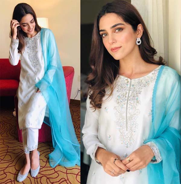 Maya Ali wearing Faiza Saqlain for cancer awareness campaign