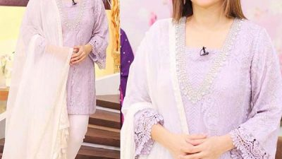 Sanam Jung looks absolutely elegant wearing SammyK lavender chiffon