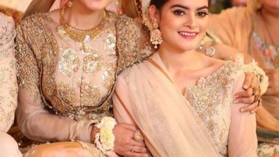 Aiman & Minal wearing Erum Khan on Bridal Shower