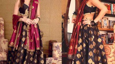 Gorgeous Ayesha Omar in Tena Durrani lehenga choli on Diwali