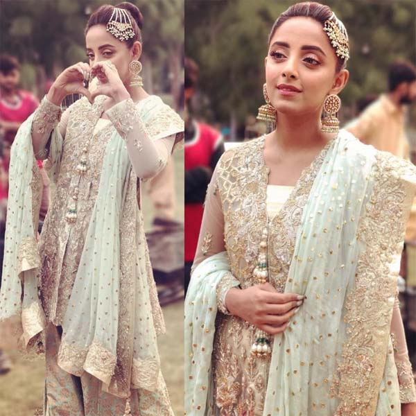 Sanam Chauhdry wearing Zainab Salman for a wedding song