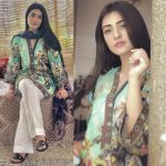 Sarah Khan wearing green printed kurta from Gul Ahmed