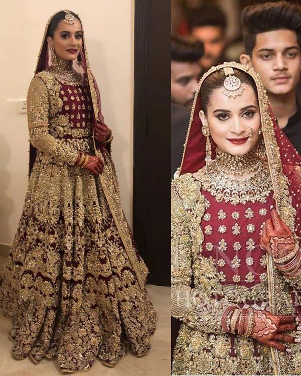 Aiman Khan baraat wedding dress