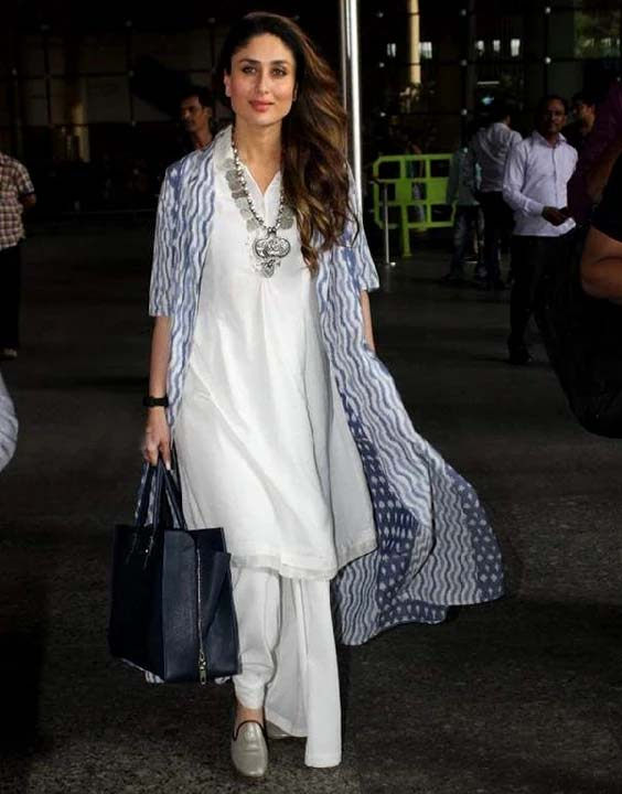 Kareena Kapoor white kurti and shrug