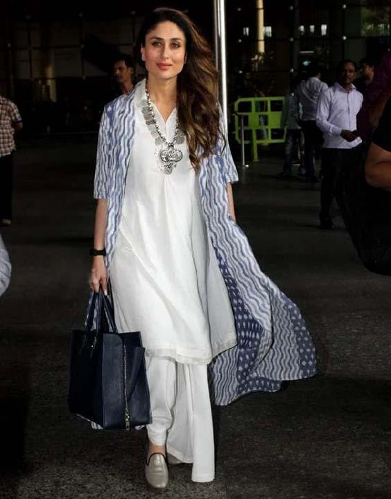 Kareena Kapoor white kurti and shrug