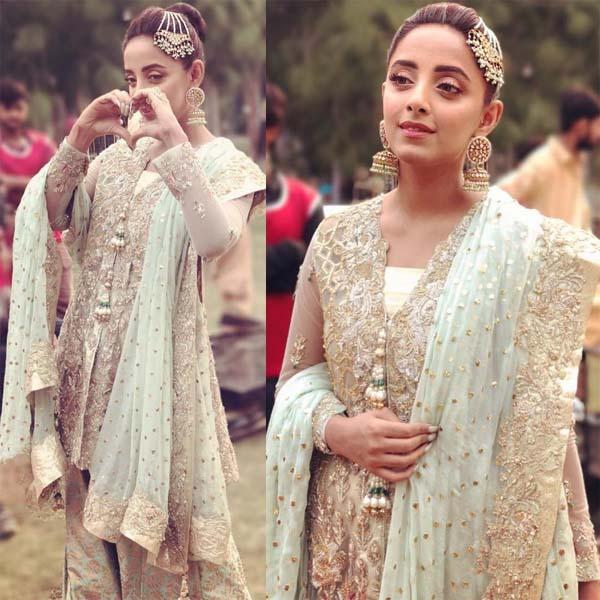 Sanam Chauhdry wearing Zainab Salman for a wedding song