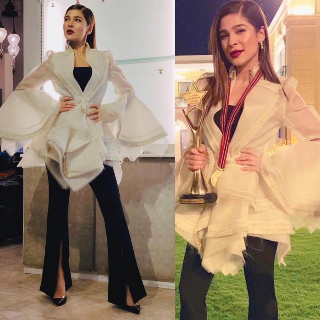 Ayesha Omar wearing amazing jacket by Ideas Pret
