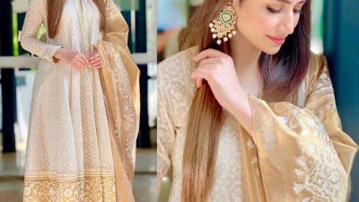 Sana Javed wearing Nida Azwer during Ruswai promotions
